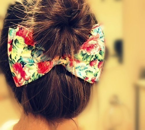 bow, bun, cute, fashion, floral