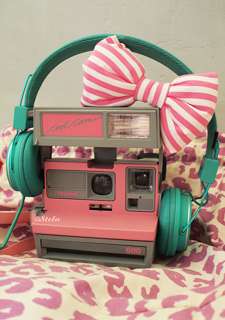 bow, camera, cute, pink, polaroid