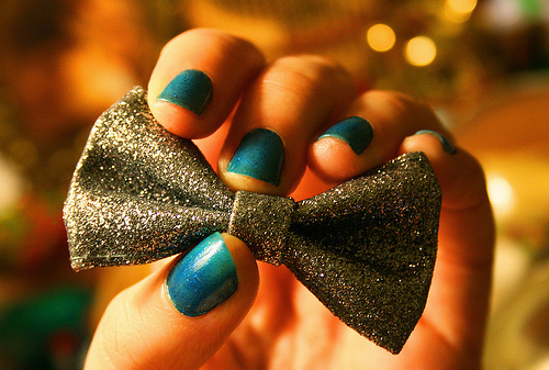bow, girl, makeup, nail varnish, nails