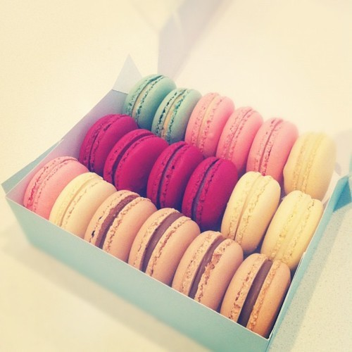 box, colourful, cookies, green, laduree, macaron, paris, pink, yellow