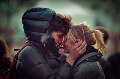 boy and girl, couple, cute, fashion, kiss