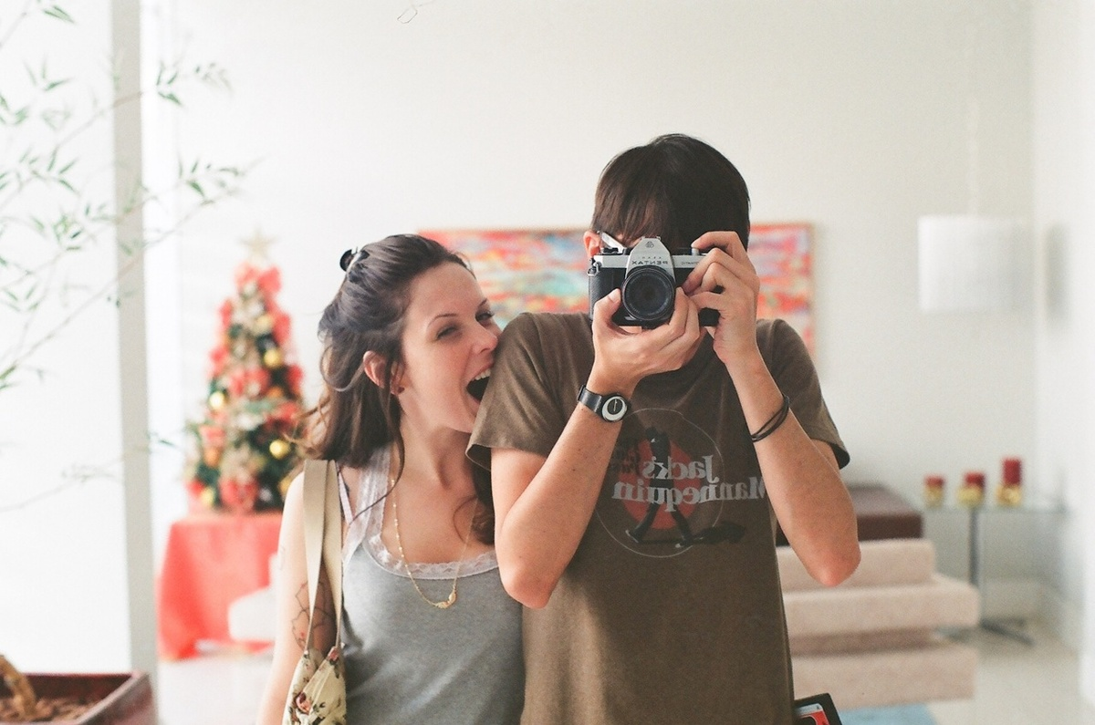boy, camera, couple, cute, fashion
