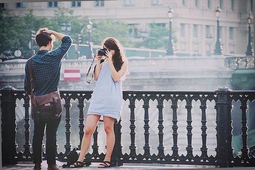 boy, camera, couple, girl, hipster, indie, love, ocean, photograph, photography, style, vintage