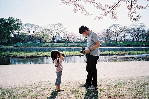 boy, cameras, cherry bossom, cute, daughter, father, girl, pretty