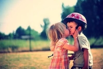 boy, children, girl, kiss, love