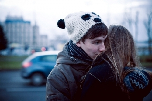 boy, couple, cute, girl, hat, hug, love, panda