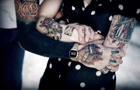 boy, girl, hand, love, tattoo