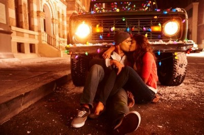 boy, girl, kiss, love, sitting, truck