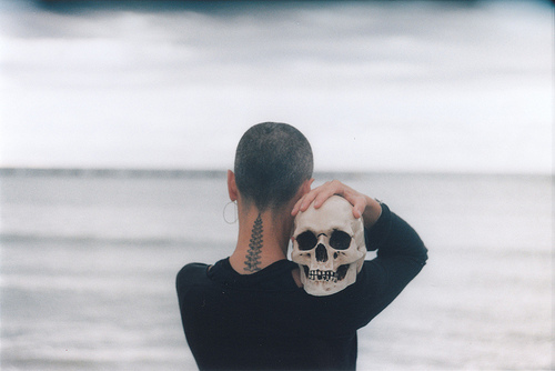 boy, photography, sea, skull, tatoo