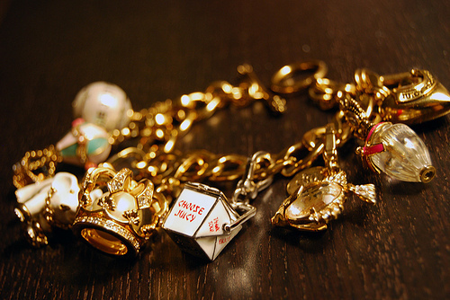 bracelet, charms, cool, gold, jewelry, juicy couture, photography