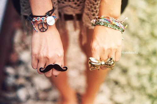 bracelets, hands, mustache, peace and love, ring