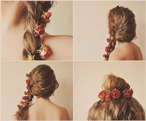 braid, brunette, collage, flowers, girl, hair, red