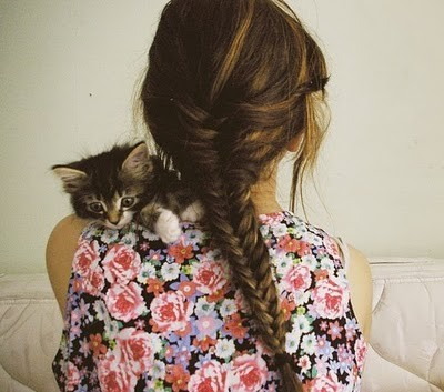 braid, brunette, cute, floral, flowers, girl, hair, hairstyle, kitty