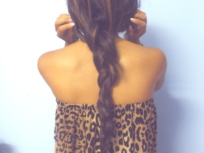 braid, brunette, fashion, girl, hair, leopard print