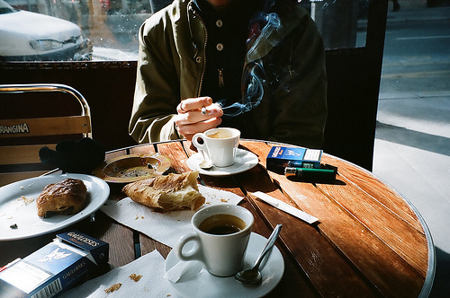 breakfast, cigarette, coffee, tea
