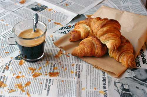 breakfast, coffee, croassaint, croassant, cute, french, hot, milk