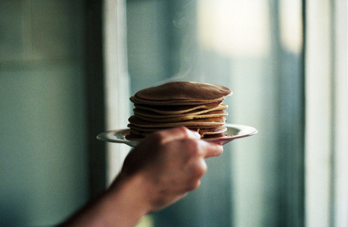 breakfast, morning, pancakes, vintage