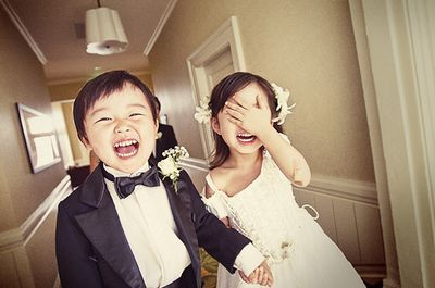 bride, children, couple, cute, groom