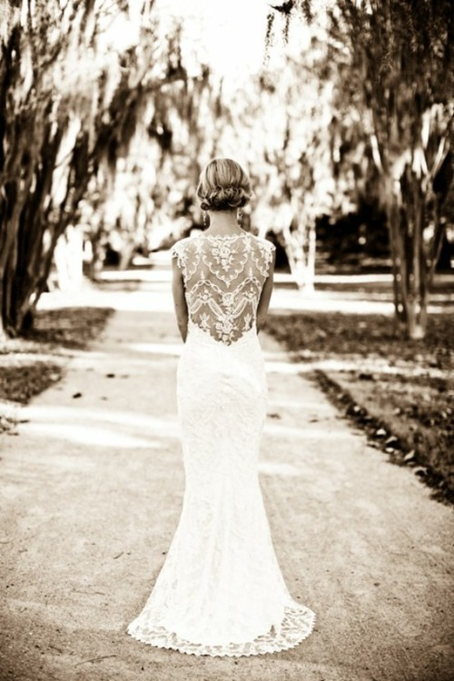 bride, dress, lace, nature, wedding