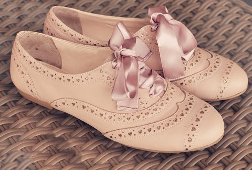 brogues, hearts, pretty, ribbon, shoes