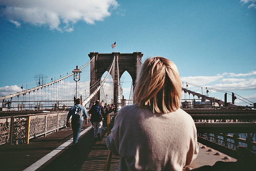 brooklyn bridge, girl, hipster, indie, vintage