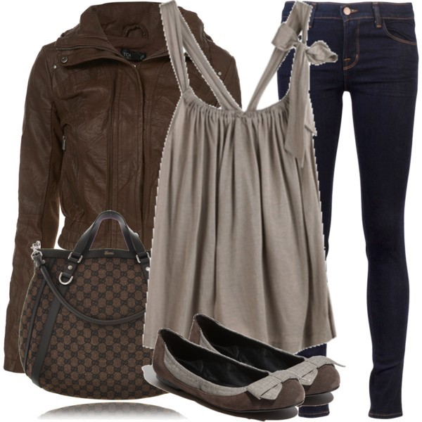 brown, casual, clothes, fashion, flats, gucci, handbag, jacket, jeans, leather, polyvore, set, shoes, style, top