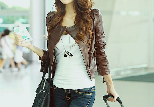 brown, fashion, jacket, leather, look, style