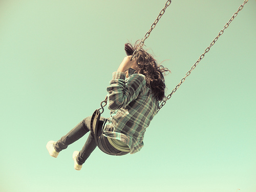 brown hair, childhood, cute, fashion, fun, girl, nice, photography, playground, pretty, swing