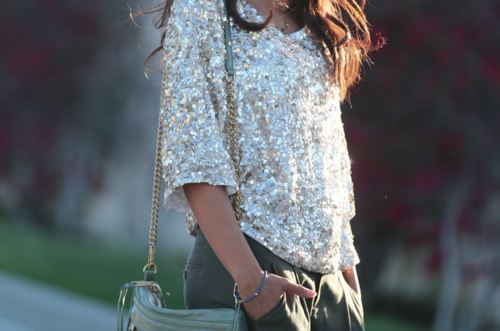 brunette, fashion, glitter, photography, pretty, sequin, sequins, shimmer, shorts, sparkle, street style, top, trousers, white