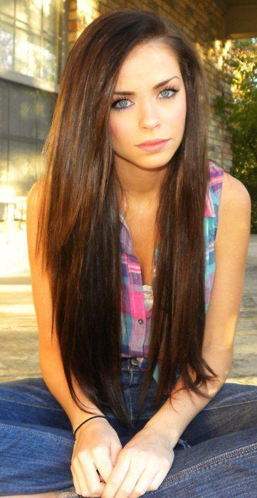brunette, girl, hair, pretty