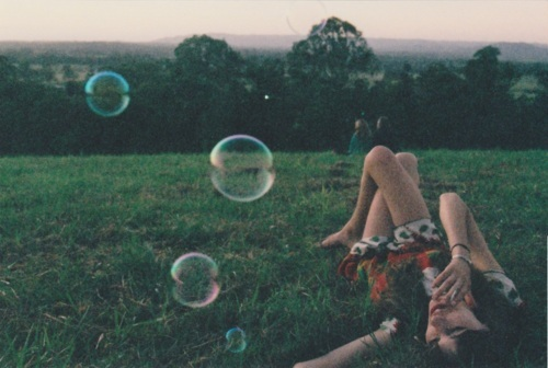 bubbles, girl, green, meadow, photography