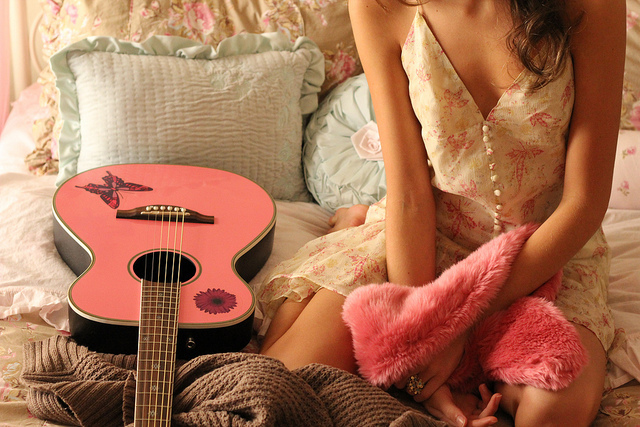 butterfly, dress, flower, fur, guitar