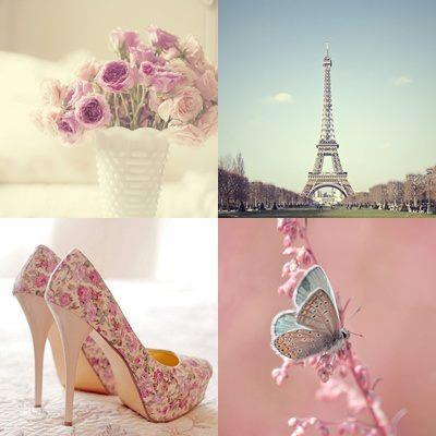 butterfly, eiffel, flowers, paris, pink