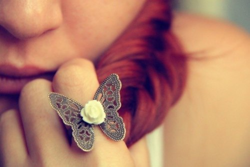 butterfly, red hair, ring