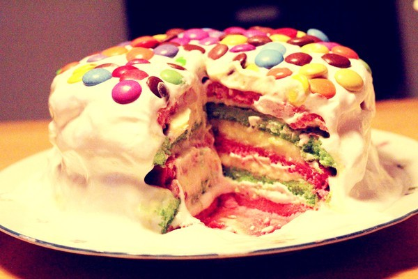 cake, chocolate, color, colours, cream, fluff, green, heart, love, pink, rainbow, sugar, yummy
