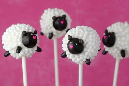 cakepops, cute, food, heart, pink, sheep