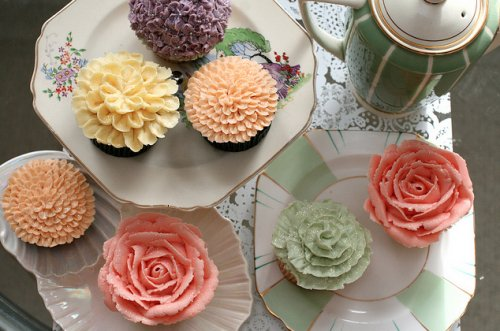 cakes, cupcakes, flowers, food, pastel, sweet, tea, vintage, yummy