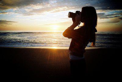 camera, clouds, girl, long hair, love