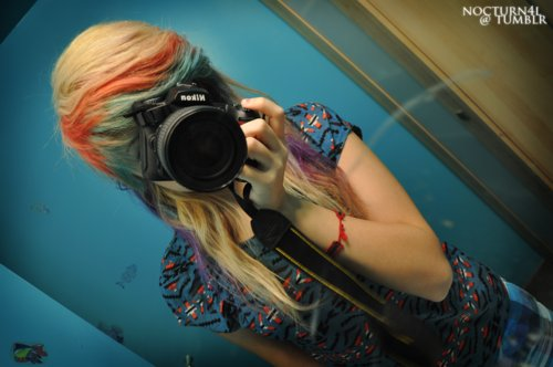 camera, colored hair, girl