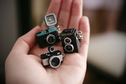 cameras, canon, colours, cute, hand, lovely, mini, mini camera, nikon, photography, photos, vintage