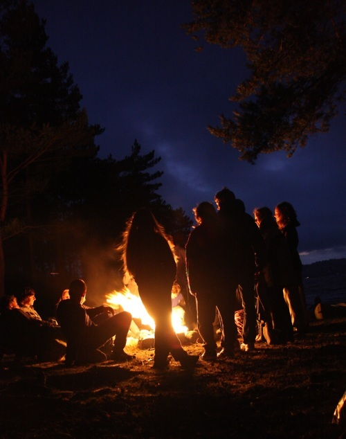 camp, dark, fire, friends, happiness