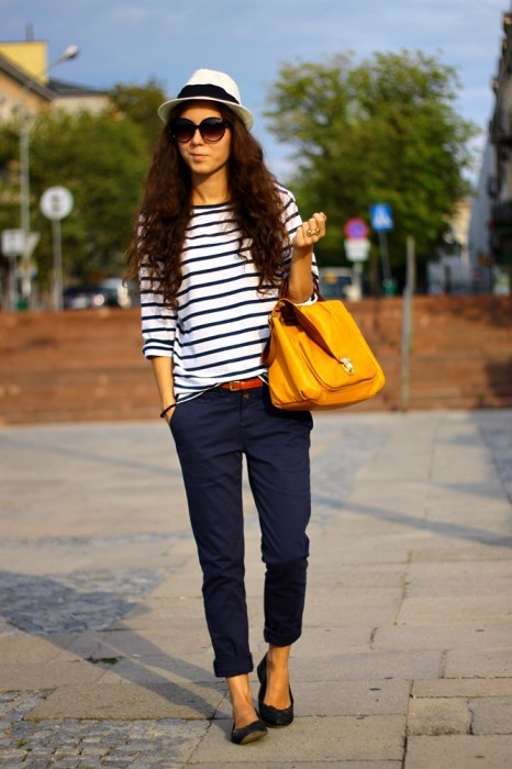 candid, casual, cute, fashion, girl, model, mustard, nautical, satchel, street, street fashion, street style, yellow