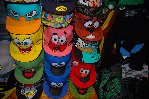 cap, cookie monster, perry, scooby doo, spongebob