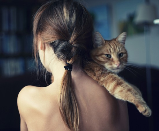 cat, dark, girl, hair, love