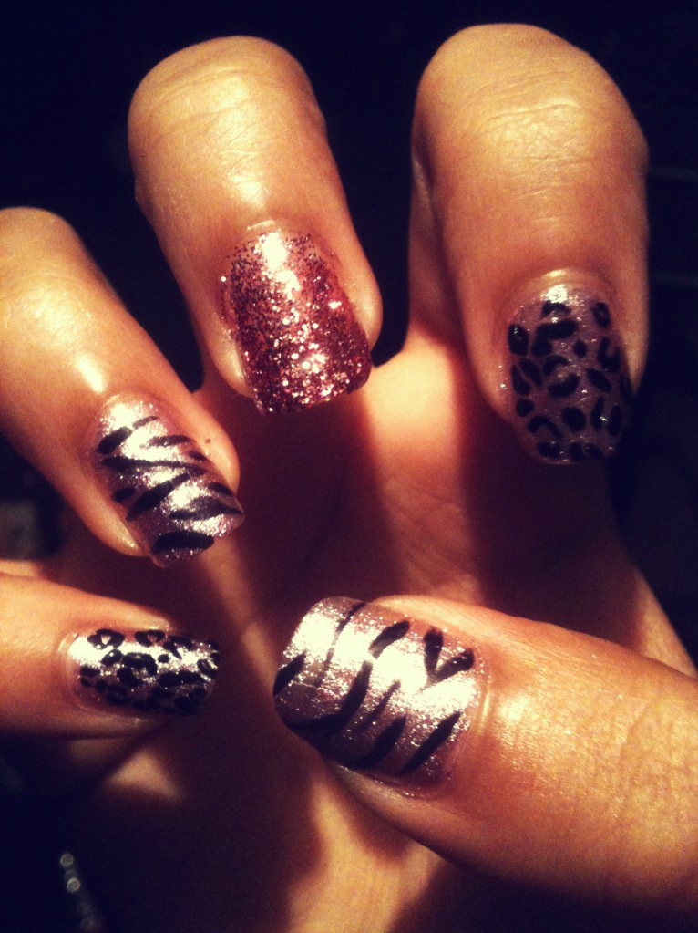 cheetah, cute, design, fingernails, glitter