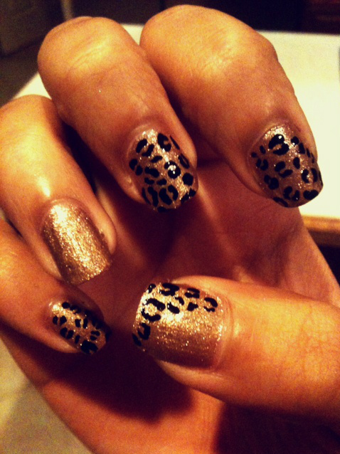 cheetah, design, glitter nails, gold, gold nails