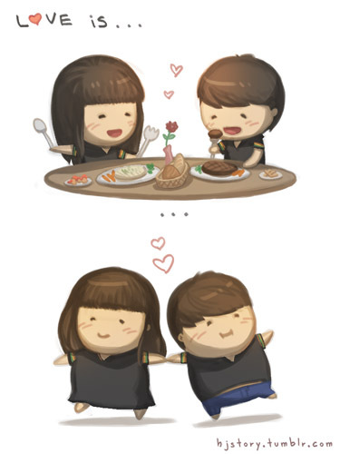 chibi, couple, cute, drawing, eating