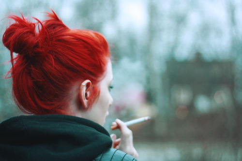 cigarette, color, hair, hairstyle, hipster, personal style, red, redhead, smoker, smoking, style