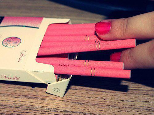 cigarettes, fingers, nailpolish, pink, smoke