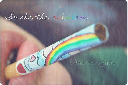 cigarrette, colorful, cute, girl, rainbow